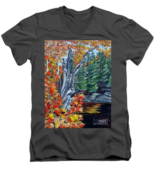 Men's V-Neck T-Shirt featuring the painting Natures Faces by Marilyn  McNish