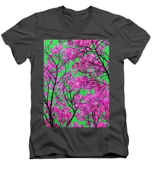 Natures Magic - Pink And Green Men's V-Neck T-Shirt by Rebecca Harman