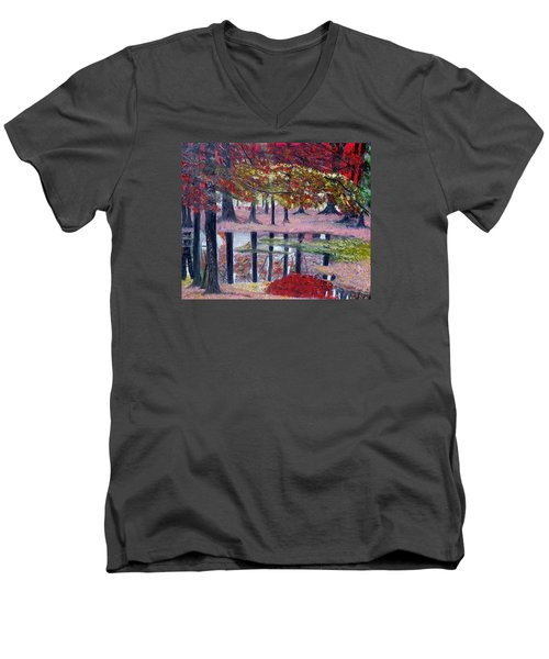 Men's V-Neck T-Shirt featuring the painting Natures Painting by Marilyn  McNish