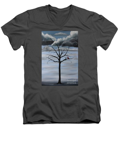Men's V-Neck T-Shirt featuring the painting Nature's Power by Stacey Zimmerman
