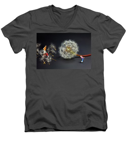 Men's V-Neck T-Shirt featuring the painting Naughty Girl Playing Dandelion Little People Big World by Paul Ge