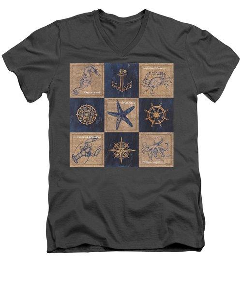 Nautical Burlap Men's V-Neck T-Shirt