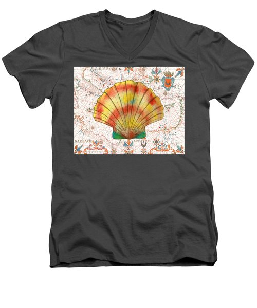 Men's V-Neck T-Shirt featuring the painting Nautical Treasures-f by Jean Plout