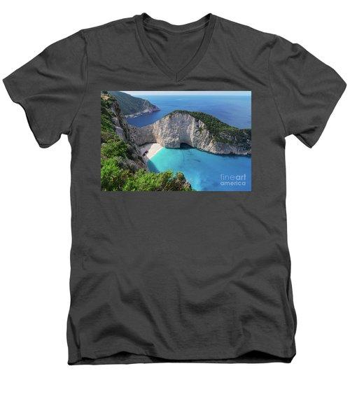 Navagio Beach Men's V-Neck T-Shirt by Anastasy Yarmolovich