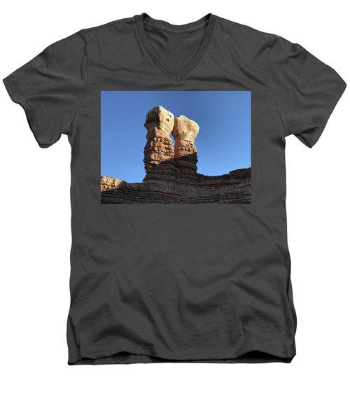 Men's V-Neck T-Shirt featuring the photograph Navajo Twin Rocks by Bill Gabbert