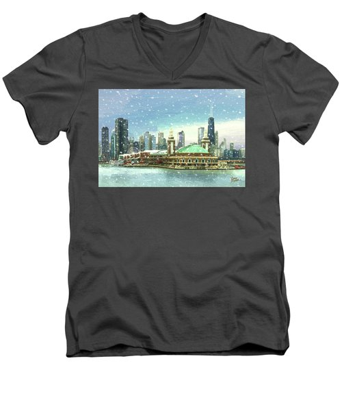 Navy Pier Winter Snow Men's V-Neck T-Shirt by Doug Kreuger