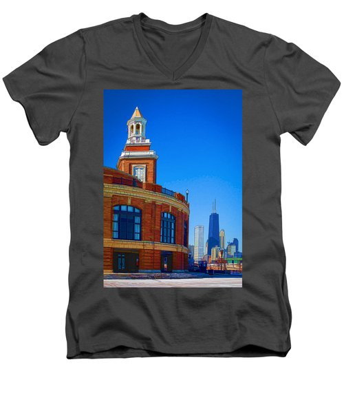 Men's V-Neck T-Shirt featuring the photograph Navy Pier With Texture by Kathleen Scanlan