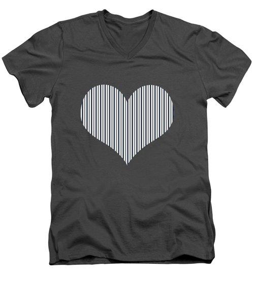 Navy White And Grey Vertical Stripes Men's V-Neck T-Shirt