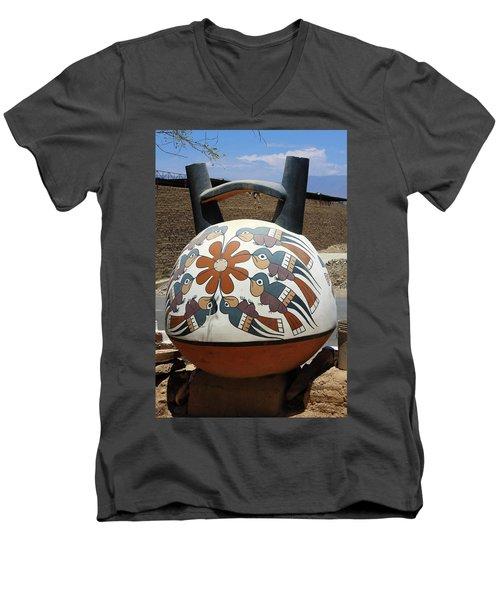 Men's V-Neck T-Shirt featuring the photograph Nazca Ceramics Peru by Aidan Moran
