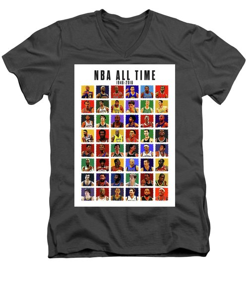 Nba All Times Men's V-Neck T-Shirt by Semih Yurdabak