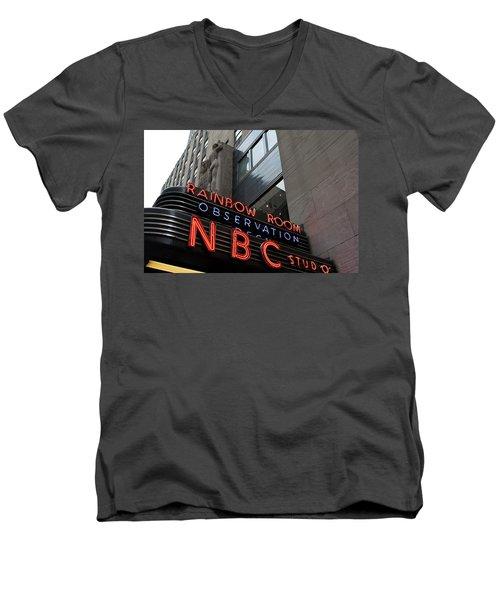 Nbc Studio Rainbow Room Sign Men's V-Neck T-Shirt