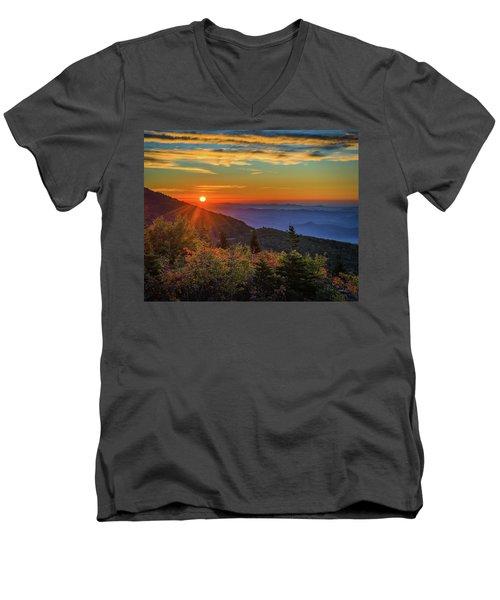 Nc Mountain Sunrise Blue Ridge Mountains Men's V-Neck T-Shirt