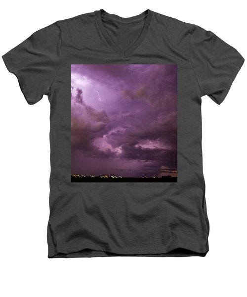 Nebraska Night Thunderstorm Beast 001 Men's V-Neck T-Shirt