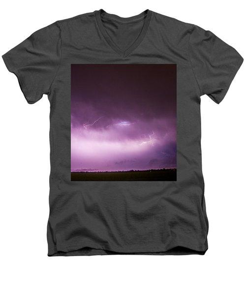 Nebraska Night Thunderstorms 013 Men's V-Neck T-Shirt