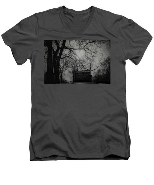 Men's V-Neck T-Shirt featuring the digital art Necropolis Nine by Chris Lord
