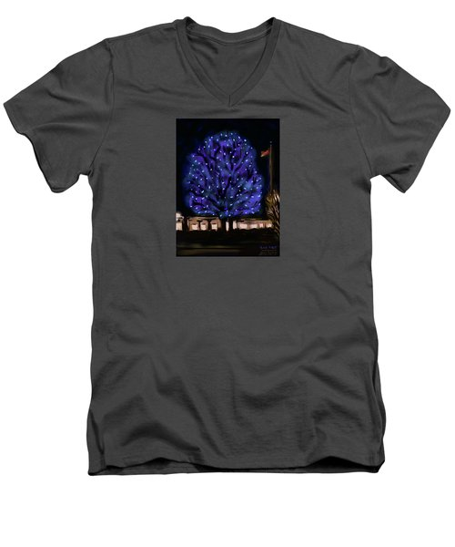 Needham's Blue Tree Men's V-Neck T-Shirt