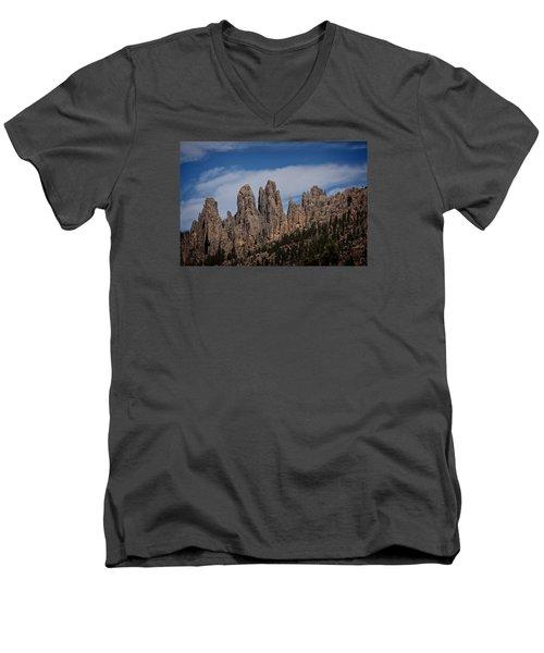Needles, North Dakota Men's V-Neck T-Shirt by Dennis Eckel