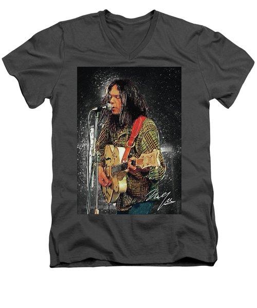 Neil Young Men's V-Neck T-Shirt by Taylan Apukovska