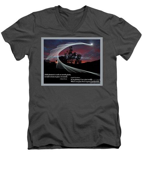 Nella Fantasia Io Vedo Un Mondo Giusto Men's V-Neck T-Shirt by Jim Fitzpatrick