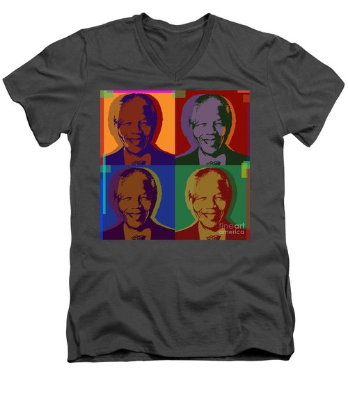 Nelson Mandela Pop Art Men's V-Neck T-Shirt