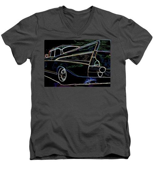 Neon 57 Chevy Bel Air Men's V-Neck T-Shirt