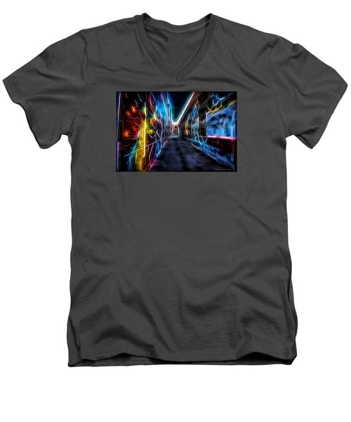 Men's V-Neck T-Shirt featuring the photograph Neon Aleey by Michaela Preston