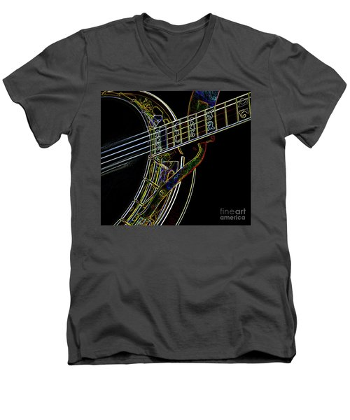 Men's V-Neck T-Shirt featuring the photograph Neon Banjo  by Wilma Birdwell