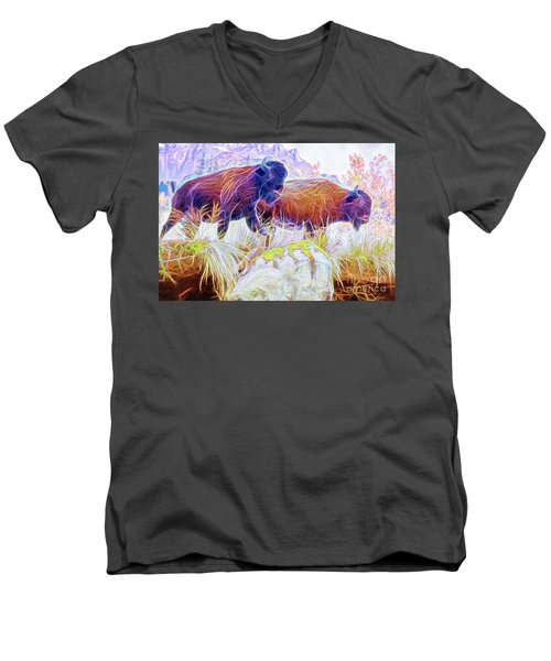 Men's V-Neck T-Shirt featuring the digital art Neon Bison Pair by Ray Shiu