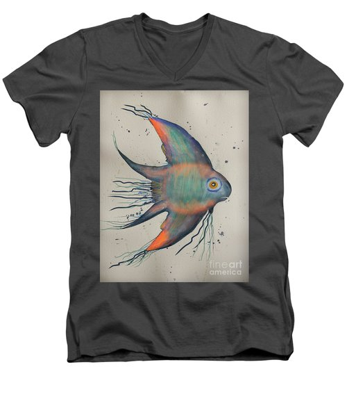 Men's V-Neck T-Shirt featuring the mixed media Neon Blue Fish by Walt Foegelle