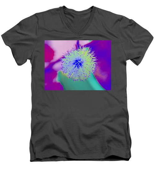Neon Green Puff Explosion Men's V-Neck T-Shirt by Samantha Thome