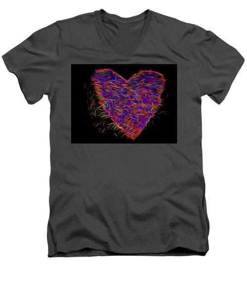 Neon Heart Men's V-Neck T-Shirt