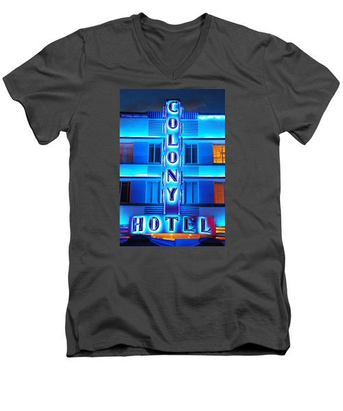 Neon Lights Of The Colony Hotel, Miami Beach Men's V-Neck T-Shirt by James Kirkikis