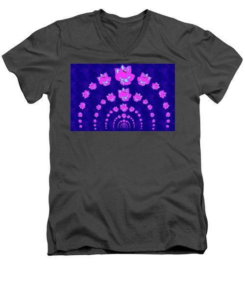 Neon Pink Lotus Arch Men's V-Neck T-Shirt by Samantha Thome