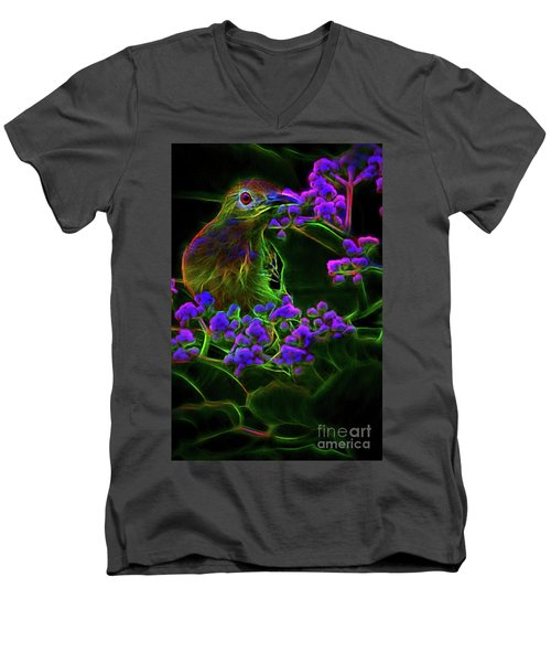 Men's V-Neck T-Shirt featuring the digital art Neon Sunbird by Ray Shiu