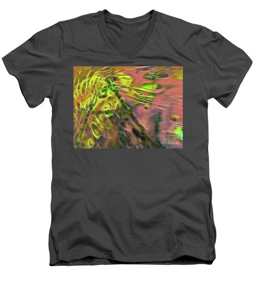 Neon Synapses Men's V-Neck T-Shirt by Todd Breitling