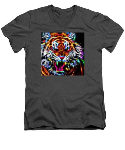 Men's V-Neck T-Shirt featuring the digital art Neon Tiger by Andreas Thust