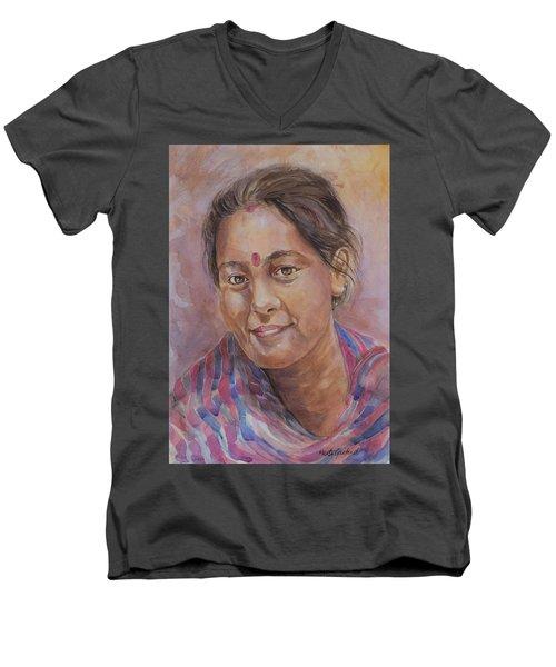 Nepal Girl 6 Men's V-Neck T-Shirt