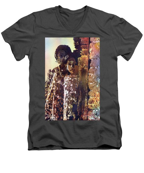 Men's V-Neck T-Shirt featuring the painting Nepalese Girls by Ryan Fox