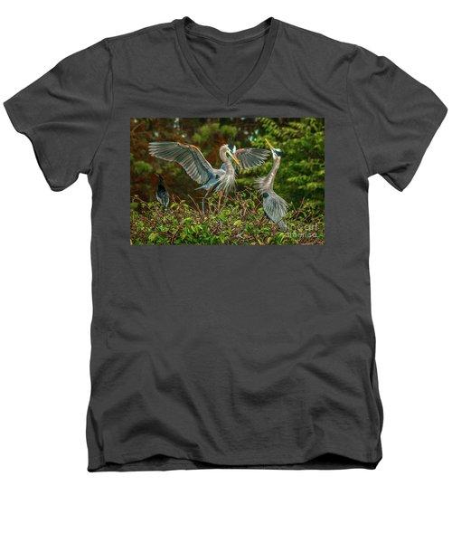 Nest Landing Men's V-Neck T-Shirt by Tom Claud