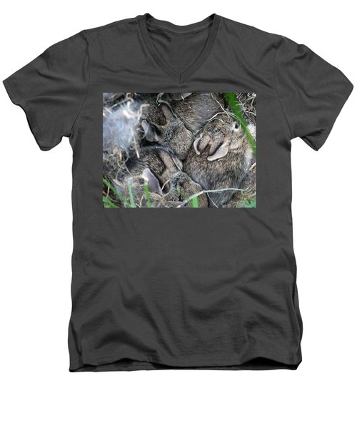 Men's V-Neck T-Shirt featuring the photograph Nestled In Their Den by Laurel Best
