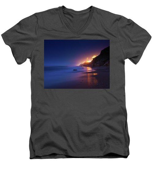 Netanya Beach At Night Men's V-Neck T-Shirt