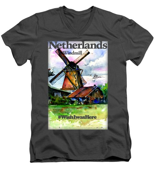 Netherlands Windmill Shirt Men's V-Neck T-Shirt