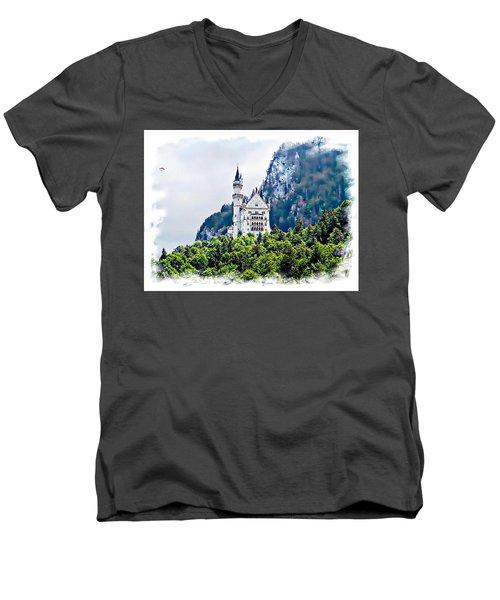 Neuschwanstein Castle With A Glider Men's V-Neck T-Shirt