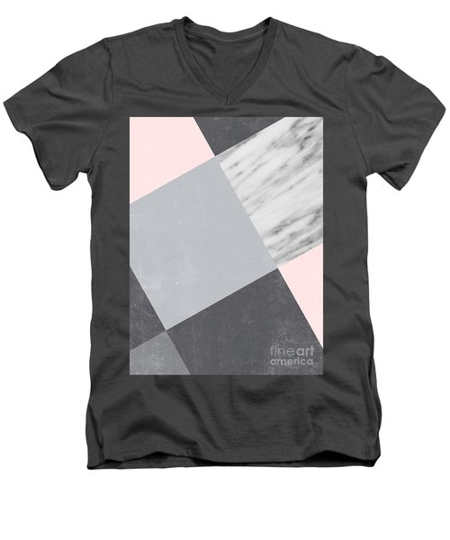 Neutral Collage With Marble Men's V-Neck T-Shirt