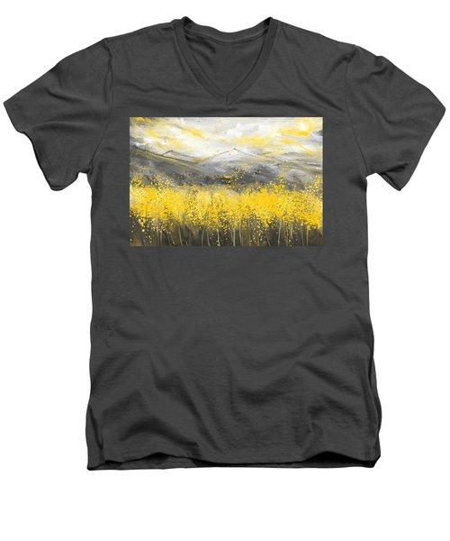 Neutral Sun - Yellow And Gray Art Men's V-Neck T-Shirt