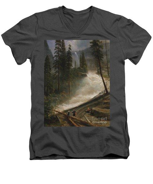 Nevada Falls Yosemite                                Men's V-Neck T-Shirt by John Stephens