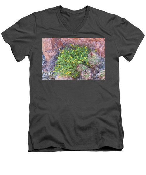Men's V-Neck T-Shirt featuring the photograph Nevada Yellow Wildflower by Linda Phelps