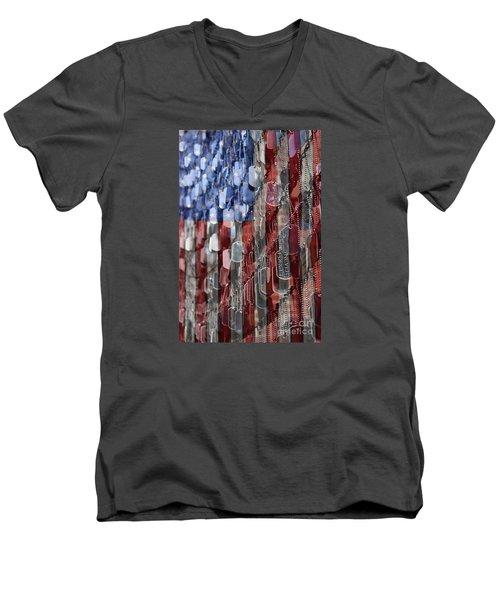 Men's V-Neck T-Shirt featuring the photograph Never Forget American Sacrifice by DJ Florek
