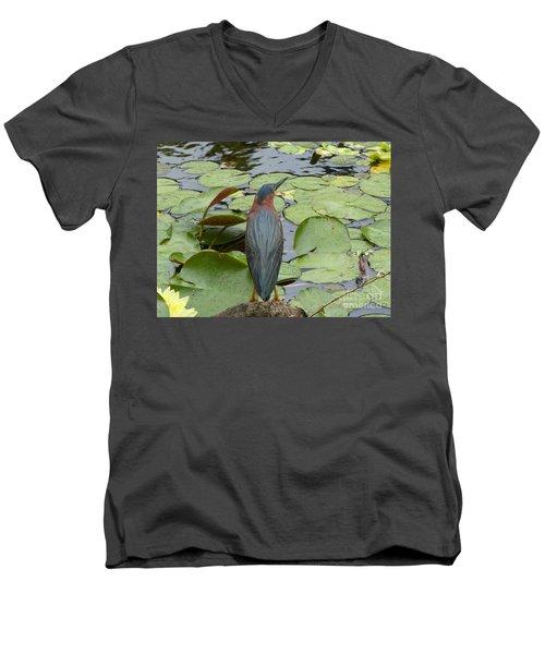 Nevis Bird Observes Men's V-Neck T-Shirt by Margaret Brooks