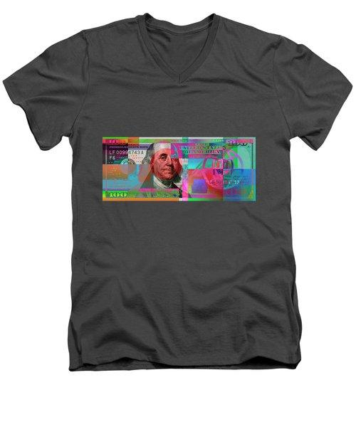 New 2009 Series Pop Art Colorized Us One Hundred Dollar Bill  No. 3 Men's V-Neck T-Shirt